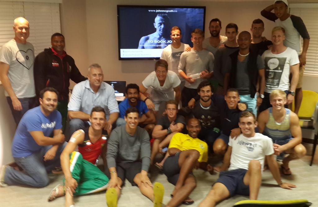 Giving a team building exercise for the South African Men's Hockey Team