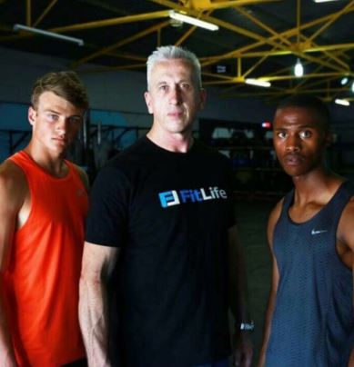 Training with Walco van Wyk, South African Junior Pole Vault Champion and Junior Mphefu, Junior Triple Jump Champion of South Africa