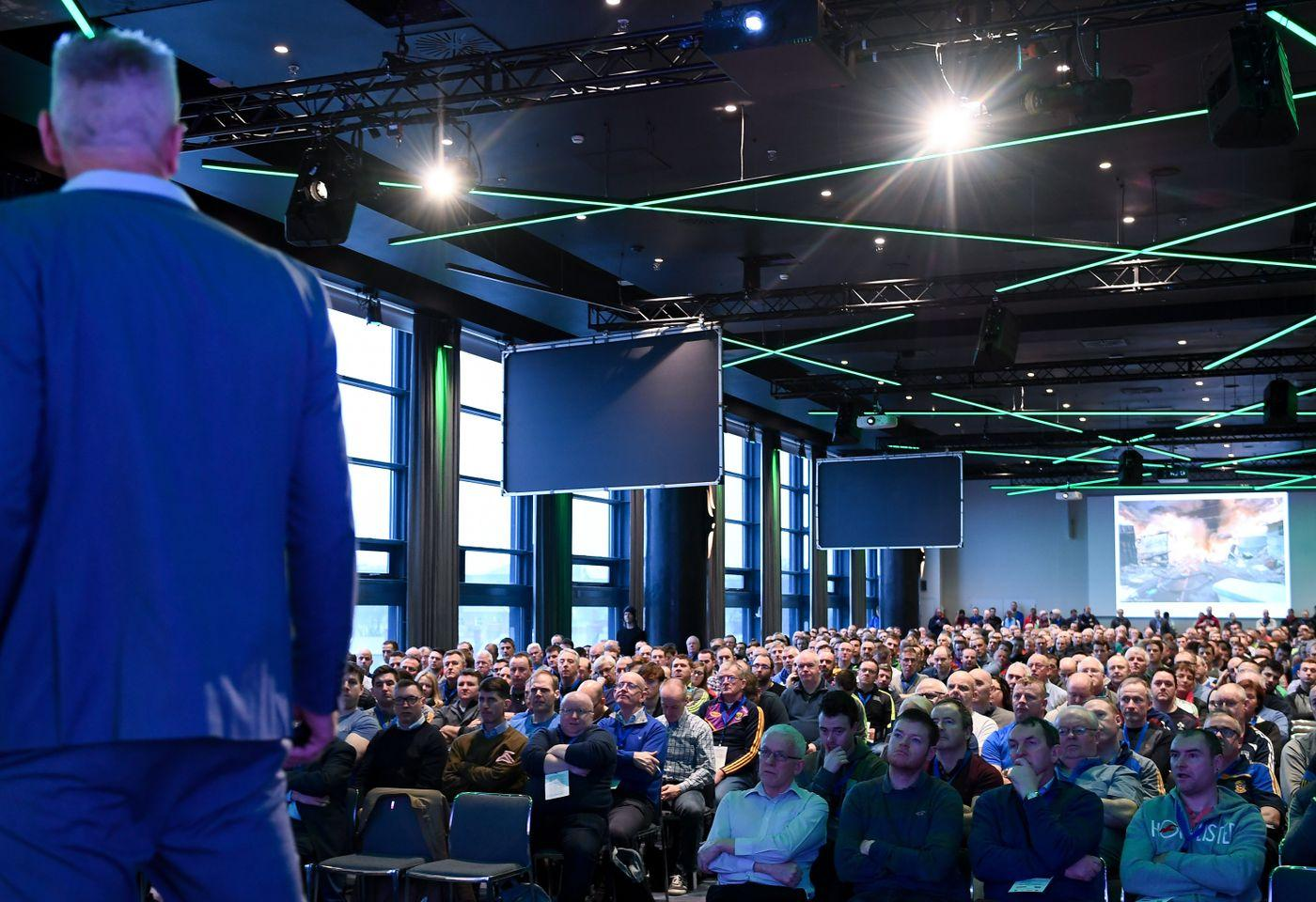 Delivering a talk to 850 GAA Gaelic Athletic Association coaches at Croke Park, Dublin City, Ireland